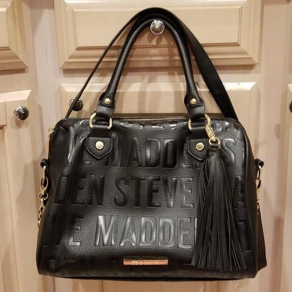 b3a5c6845c Steve Madden logo black satchel. M_5bf3f422c2e9fef9e0d05080